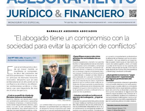 Entrevista a José Mª Valls Lolla, CEO de Barnalex, en el especial jurídico de La Vanguardia. 16/09/2016.